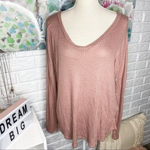 Pink Lily Mauve Waffle Knit Long Sleeve Top